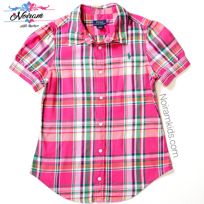 Polo Ralph Lauren Girls Pink Plaid Shirt Used View 1