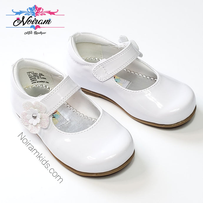 Rachel Toddler Girls White Patent Leather Shoes Used