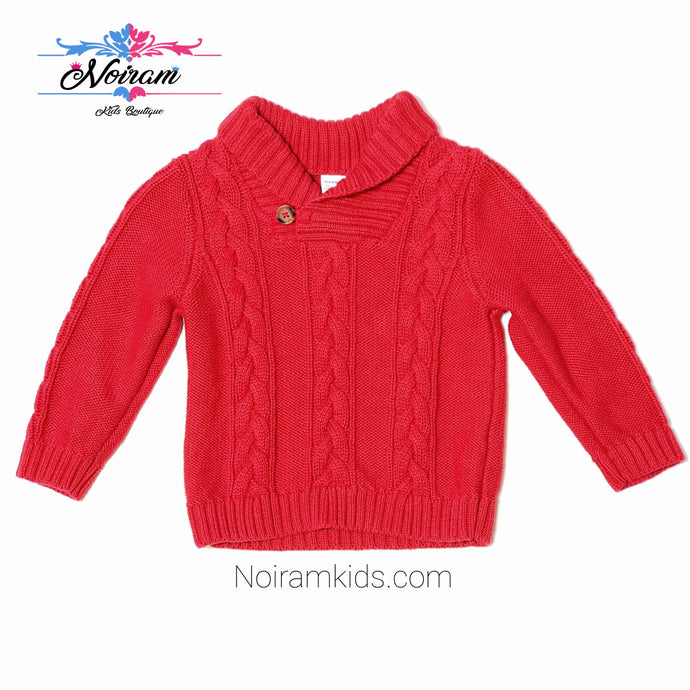 Old Navy Red Cable Knit Baby Boys Sweater Used View 1