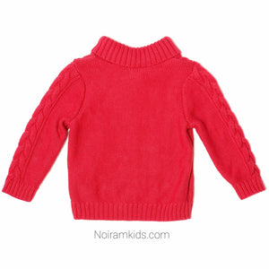 Old Navy Red Cable Knit Baby Boys Sweater Used View 2