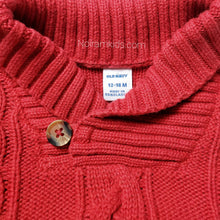 Load image into Gallery viewer, Old Navy Red Cable Knit Baby Boys Sweater Used View 3