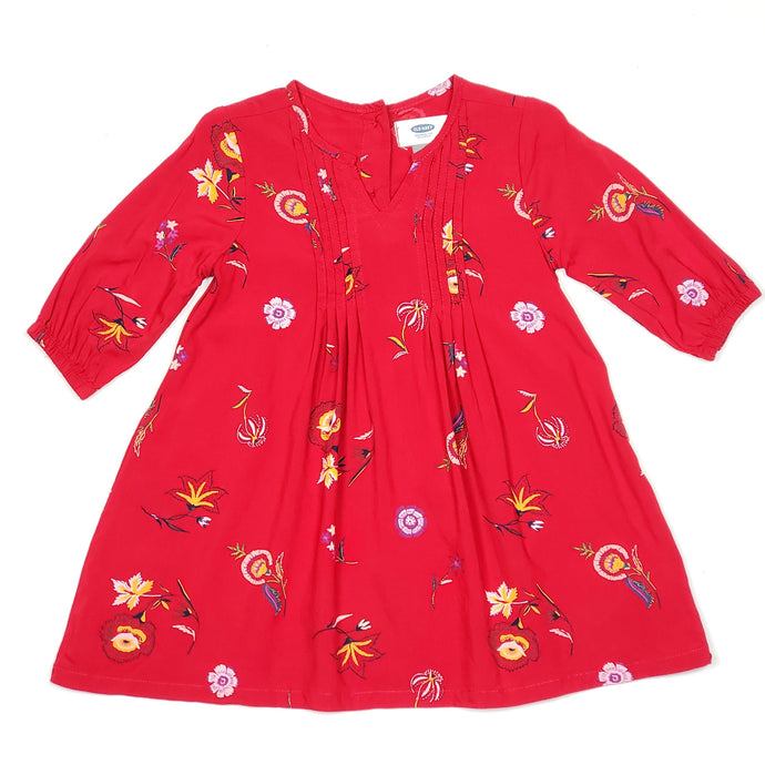 Old Navy Red Floral Print Girls Dress 2T Used View 1