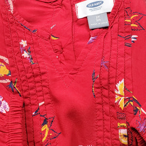 Old Navy Red Floral Print Girls Dress 2T Used View 3