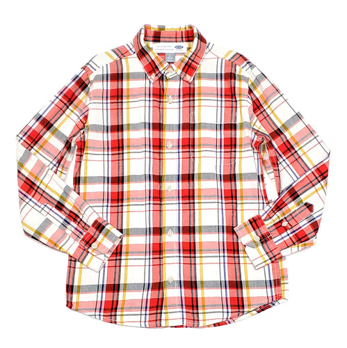 Old Navy Boys Red Multi Plaid Shirt Size 8 Used View 1