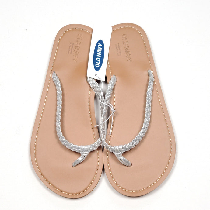 Old Navy Girls Silver Flip Flops Size 1-2 NWT