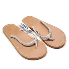 Load image into Gallery viewer, Old Navy Girls Silver Flip Flops Size 1-2 NWT