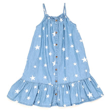 Load image into Gallery viewer, Old Navy Girls Star Print Chambray Dress 5T Used View 1