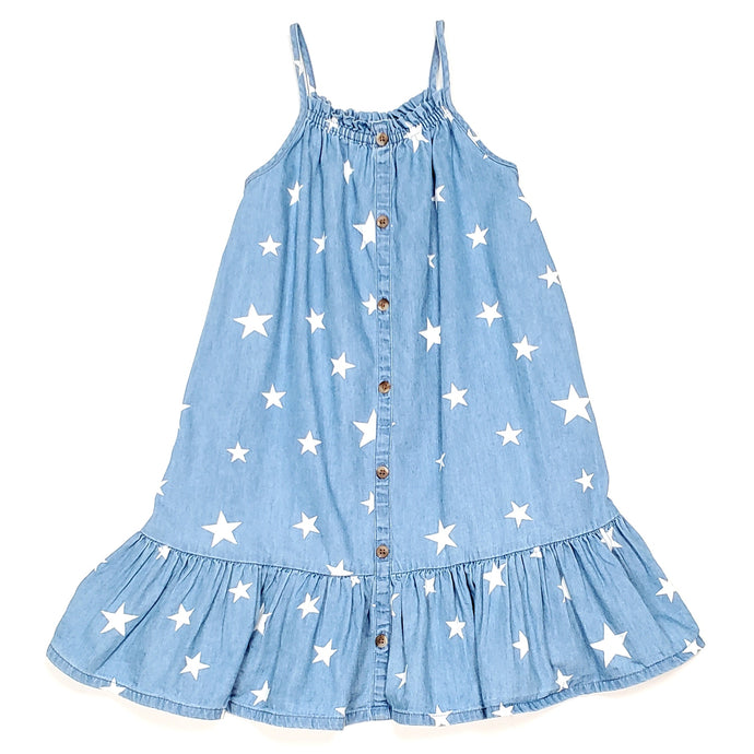Old Navy Girls Star Print Chambray Dress 5T Used View 1