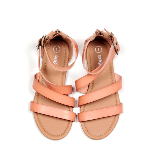 Cat Jack Girls Tan Gladiator Sandals Size 1 Used View 1