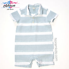 Load image into Gallery viewer, Tucker Tate Blue White Boys Romper 24M Used View 1