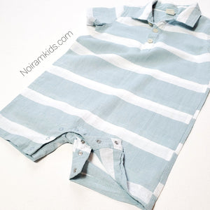Tucker Tate Blue White Boys Romper 24M Used View 2