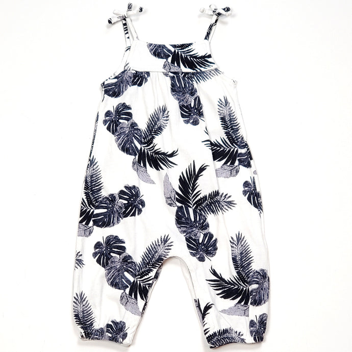 Old Navy Girls White Leaf Print Jumpsuit 3M Used View 1