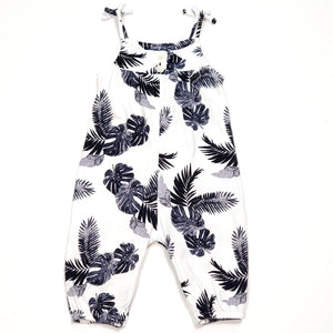Old Navy Girls White Leaf Print Jumpsuit 3M Used View 2