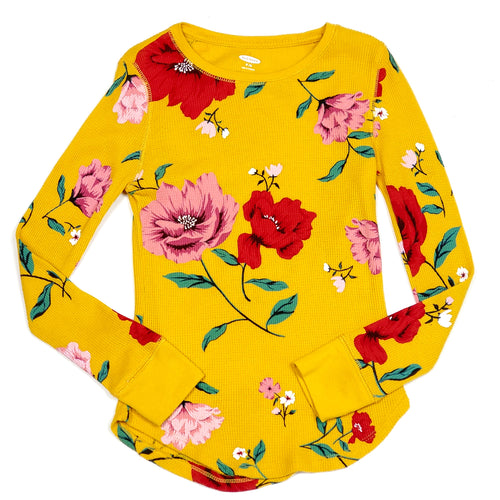 Old Navy Girls Yellow Floral Thermal Shirt Size 8 Used View 1