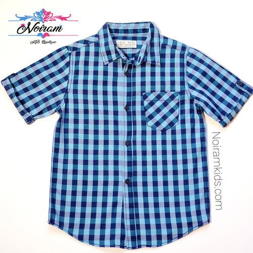 Zara Boys Blue Plaid Shirt Used View 1