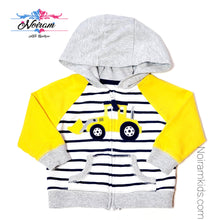 Load image into Gallery viewer, Carters Zip Up Bulldozer Boys Hoodie 9M Used View 1