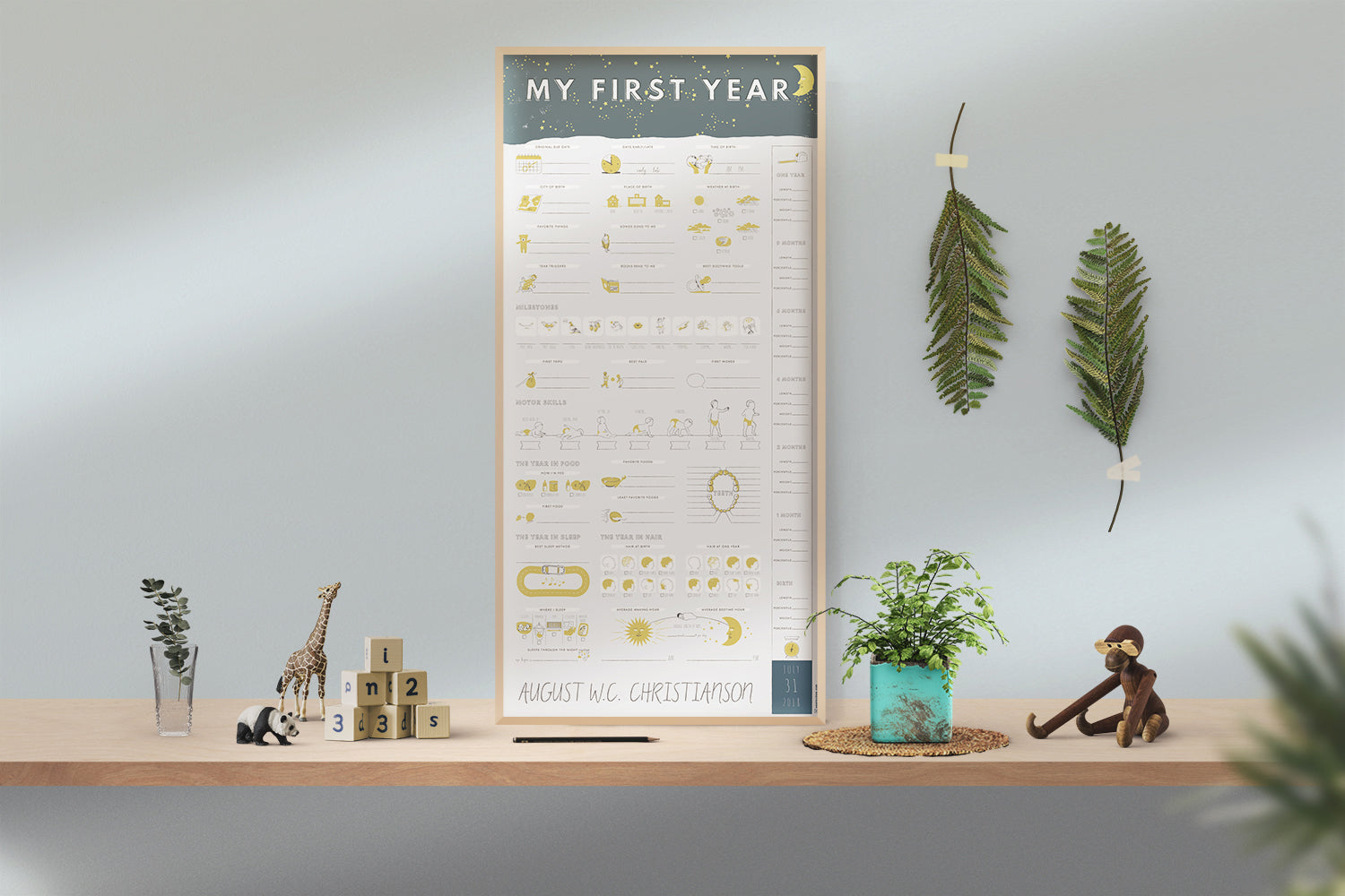 Personalized My First Year Poster - Moon + Stars