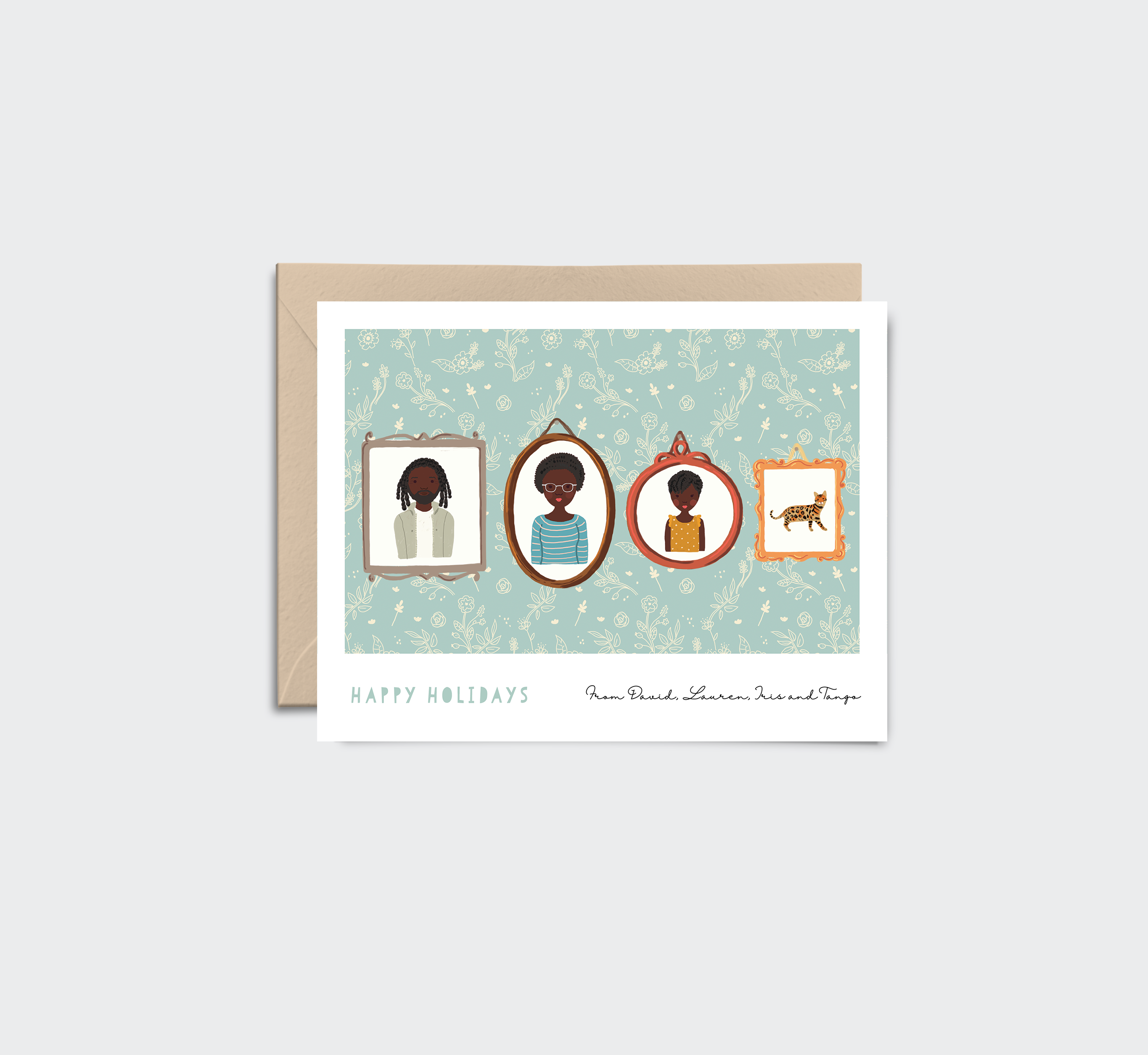 Printable Holiday Card with Custom Family Portrait