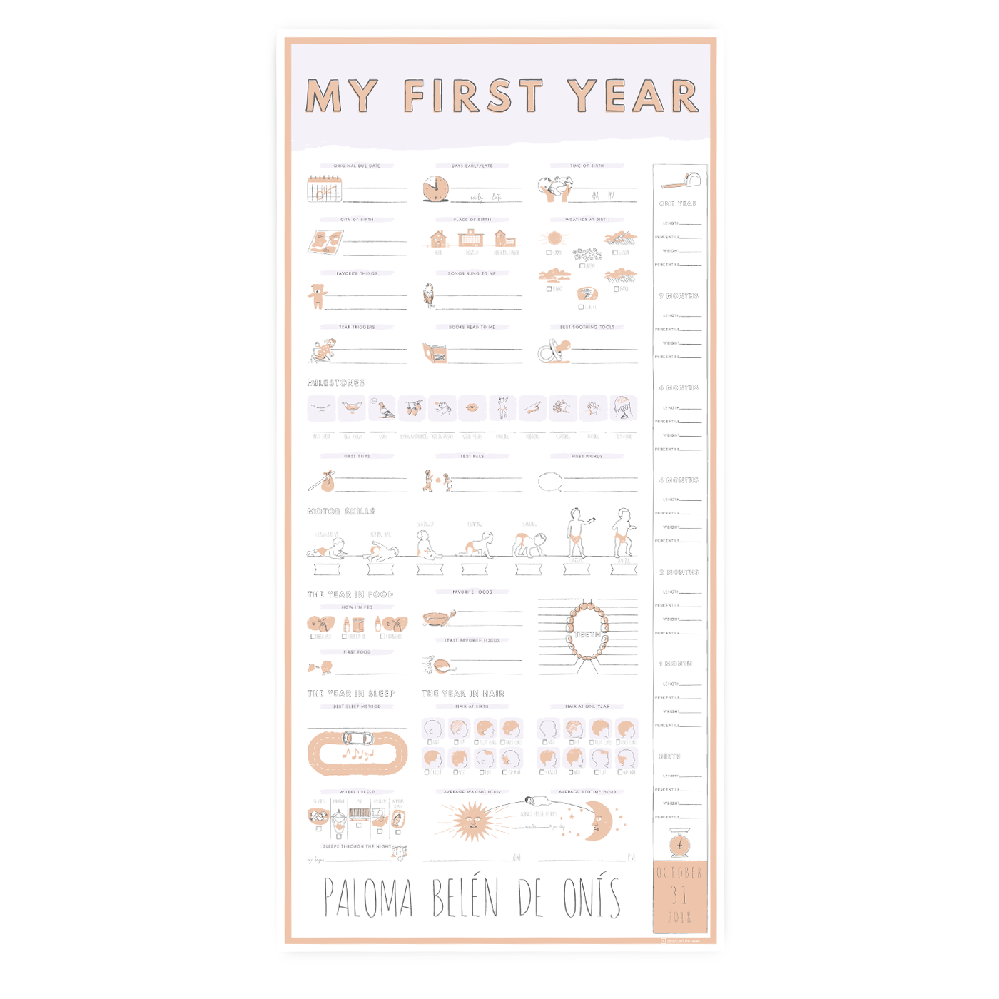 Personalized My First Year Poster - Simple