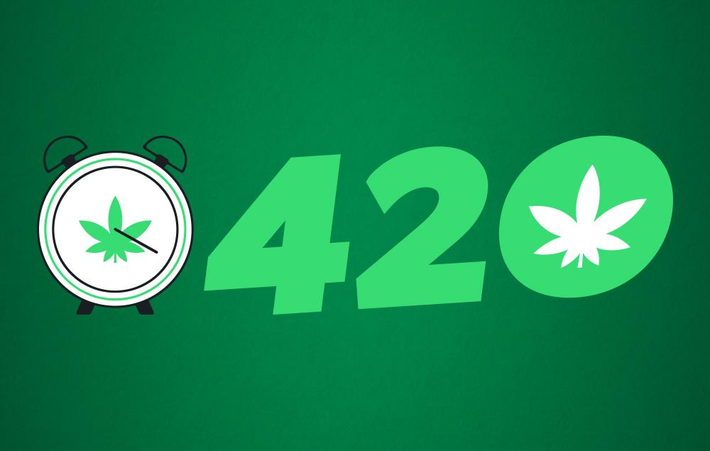 420 watch leaf on a green background