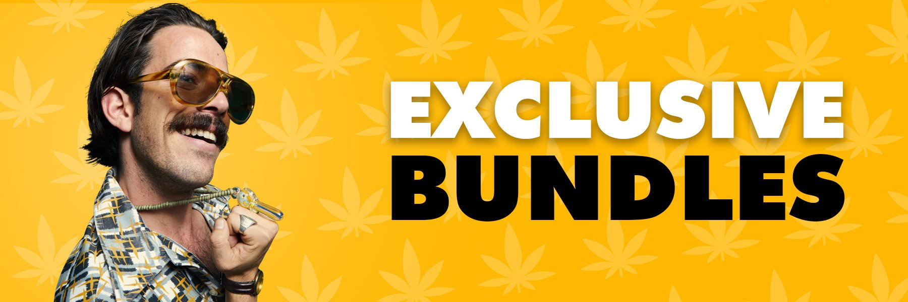 Exclusive Bundles banner featuring man in sunglasses and showing off his pipe bling.