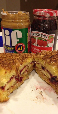 fried pb&j with banana in cereal crusted sandwich