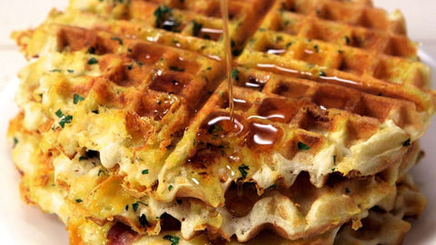 bacon and egg cheese stuffed waffles
