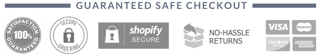 Trust badges, Shopify secure, No-Hassle Returns, credit cards icons