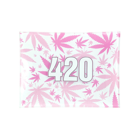 V Syndicate Pink 420 Shatter Resistant Glass Rolling Tray