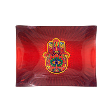 V Syndicate Red Hamsa Glass Rolling Tray