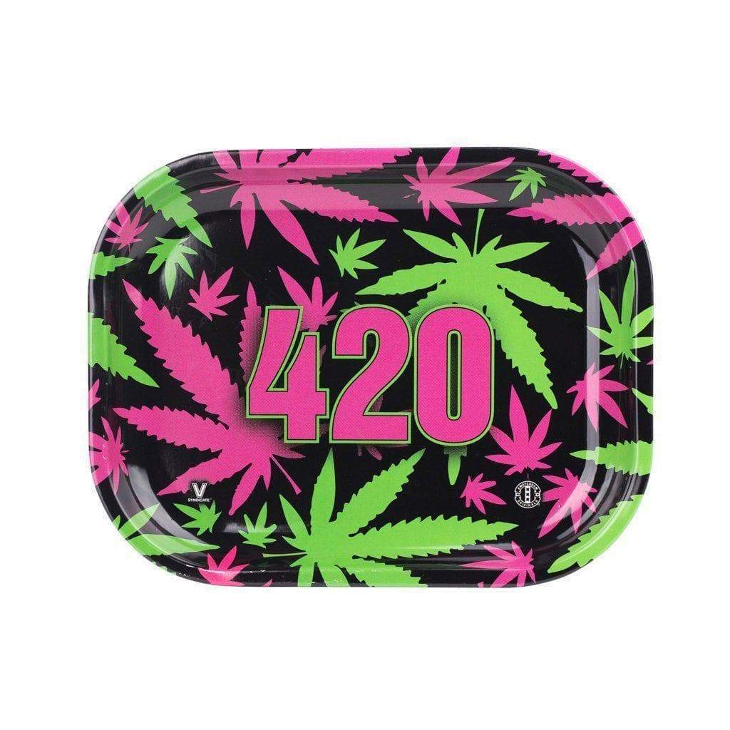 Colored mini rolling tray smoking accessory with a funky Retro weed leaf design and 420 numbers in the middle