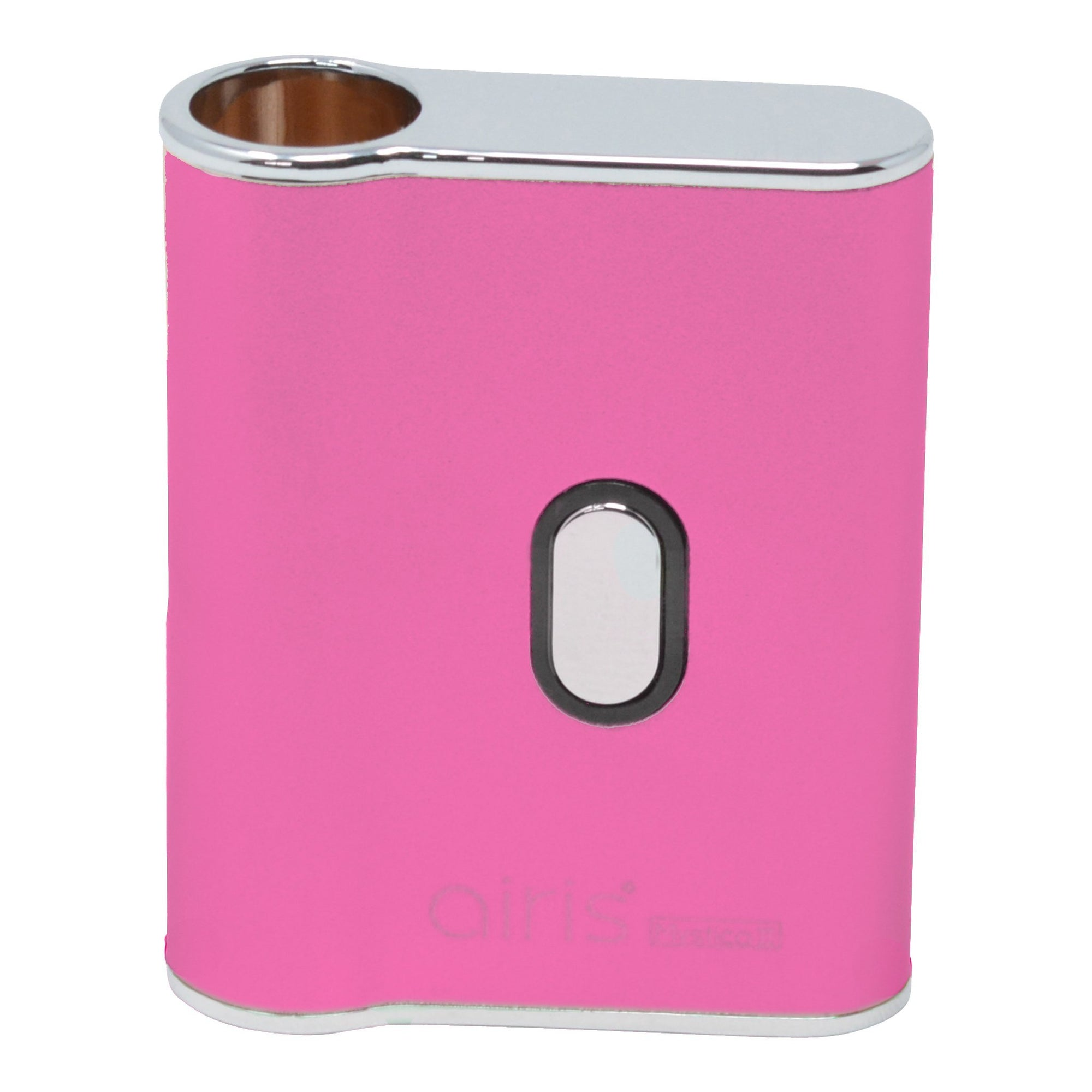 Full whole body eye level shot of Airis Mystica 2 square vaporizer smoking device in pink color, fun look