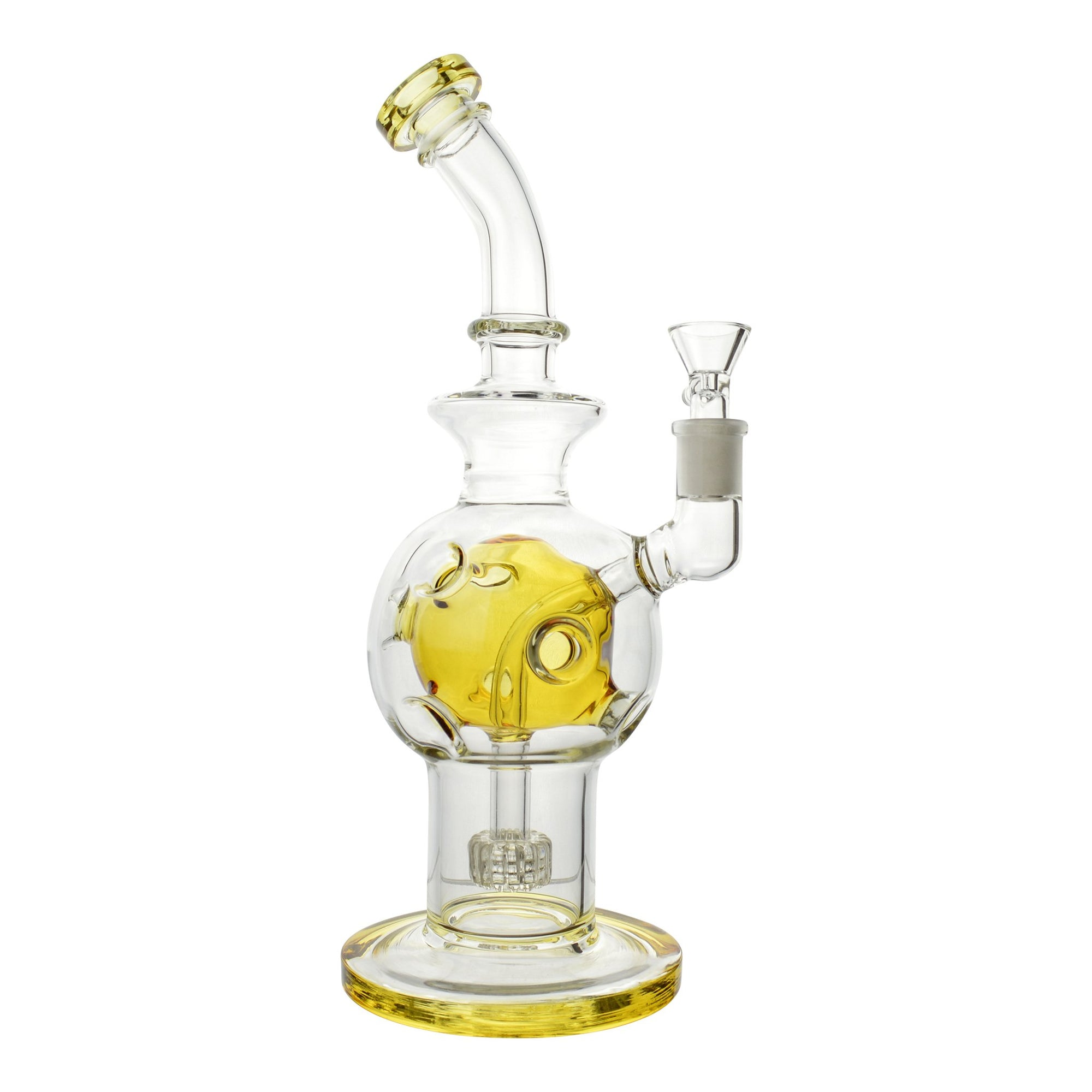 Full body shot of 11-inch clear glass bong smoking device yellow accents asteroid round perc mouthpiece tilted left