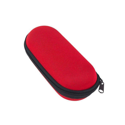 Red functional 6-inch x 2 1/2-inch storage zip pouch for pipes and smoking devices with foam interior in classic design