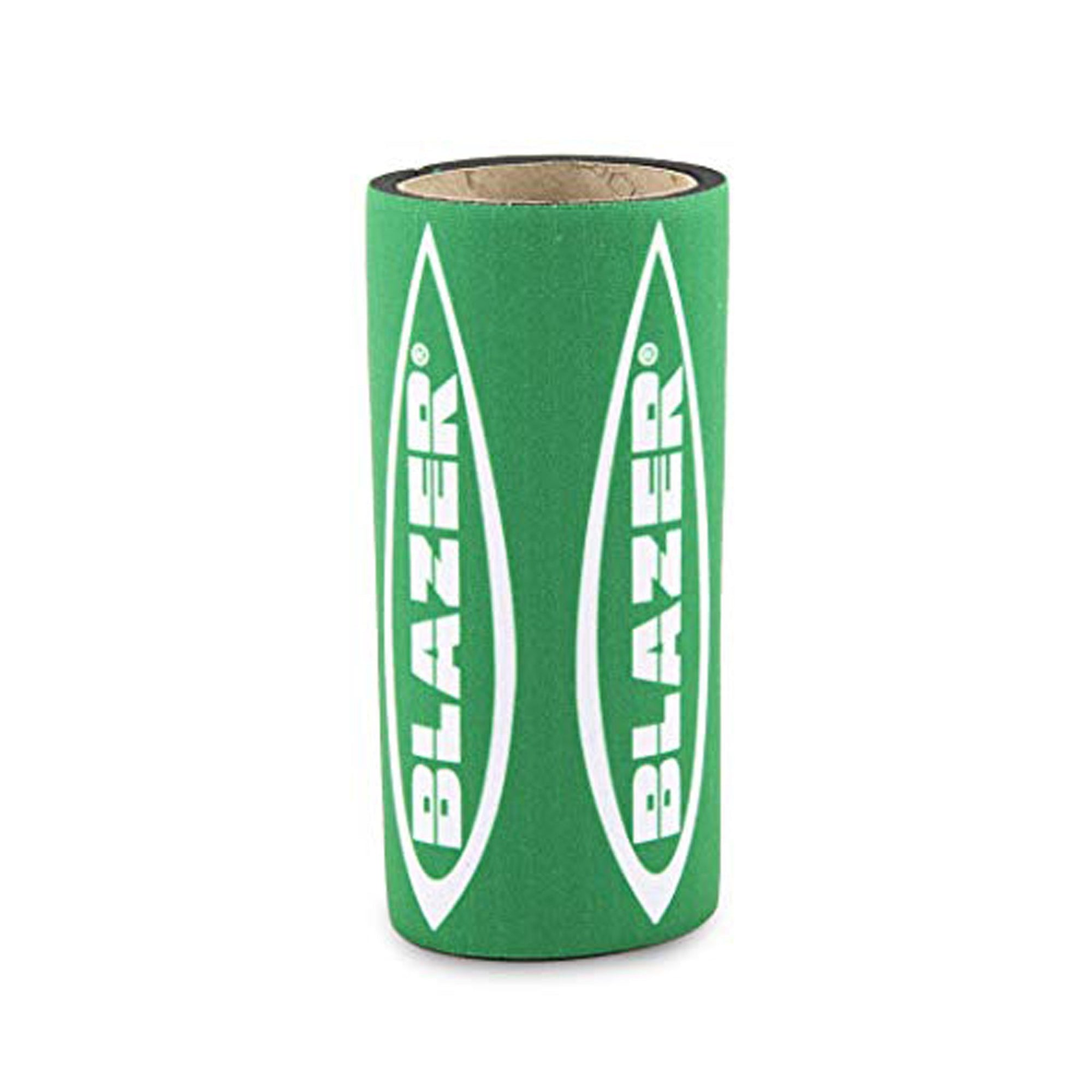 Full upright shot of 4.5 inch Blazer Big Shot Torch Koozie torch not included green packaging opening on top slightly visible