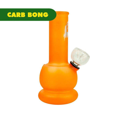 5-inch orange glass carb bong smoking device bright solid color Bob Marley face sillhouette printed on neck