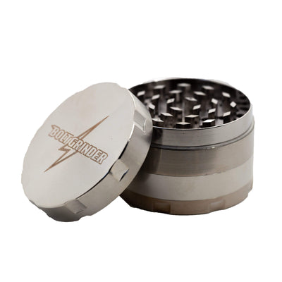 50-mm 4-piece metal Bolt Grinder rotary grinder cool and sleek look Silver metallic colors