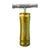 Upright shot of golden Cali Crusher OG T press smoking accessory T shape vintage bike air pump look