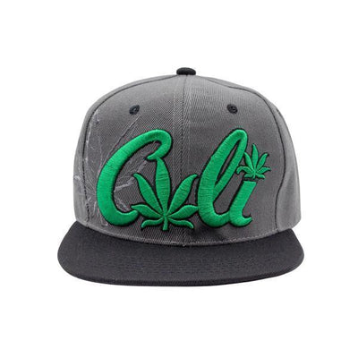 Front shot of cool gray snapback cap with black visor with green Cali word and weed leaf design