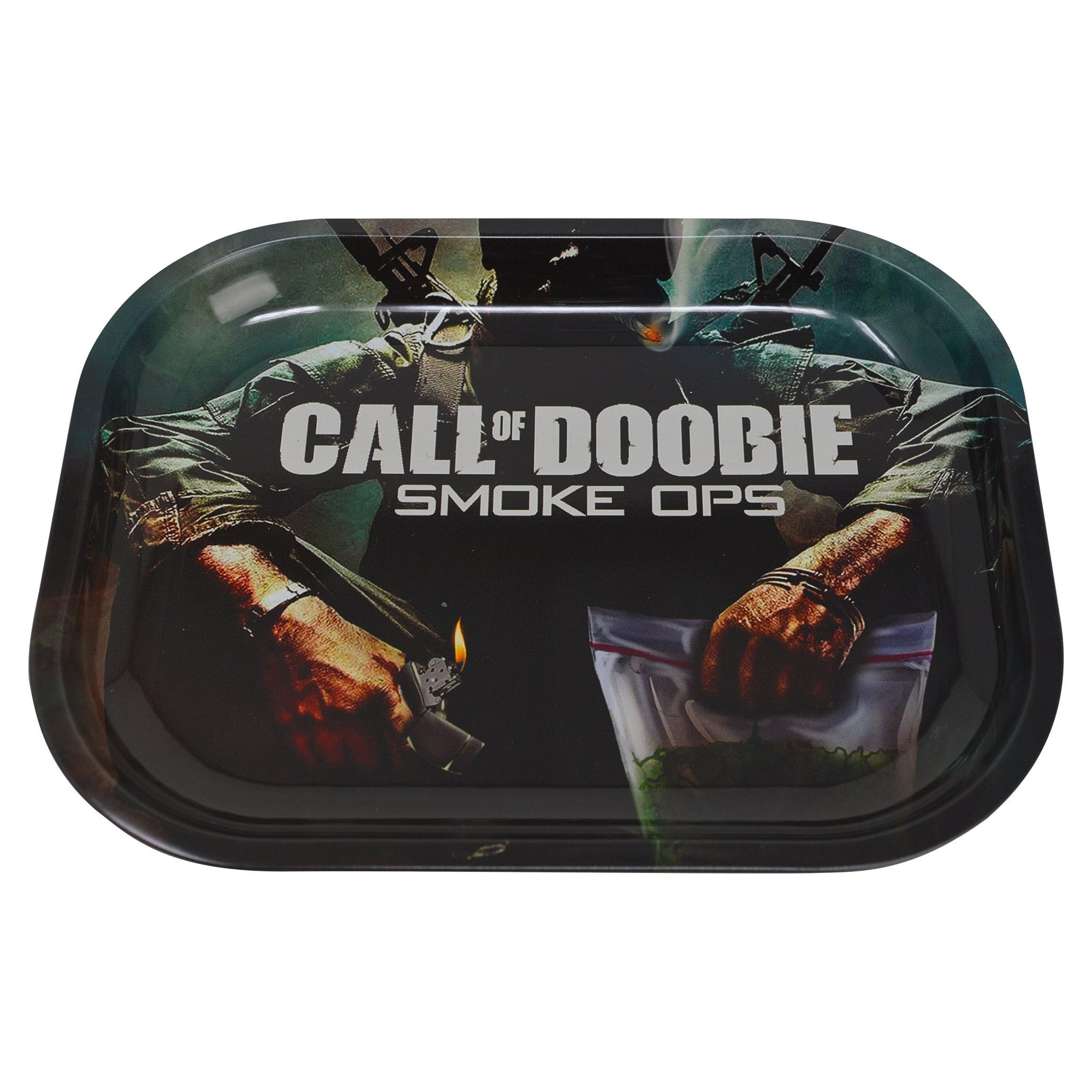 Handy rolling tray smoking accessory Call of Duty video game themed soldier holding weed lighter design