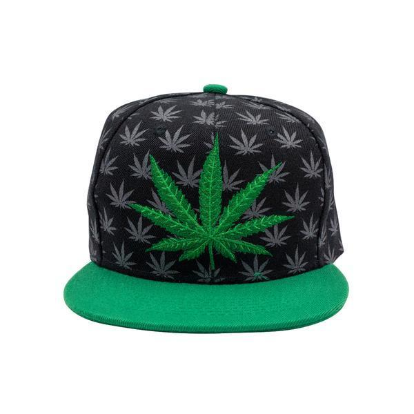 Front shot of black snapback cap green visor gray cannabis prints, green weed design in front facing front