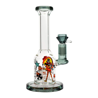 7.5-inch mini glass bong smoking device splashguard cartoon style woman in streetwear urban art graffiti designs