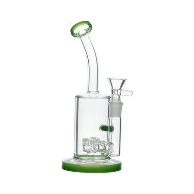 Moss 8-inch glass bong smoking device with honeycomb perc angled mouthpiece