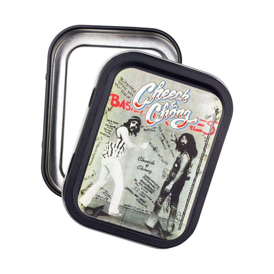 Quirky fun rectangular stashbox small tin container with funny comedy duo Cheech and Chong design on lid vintage look