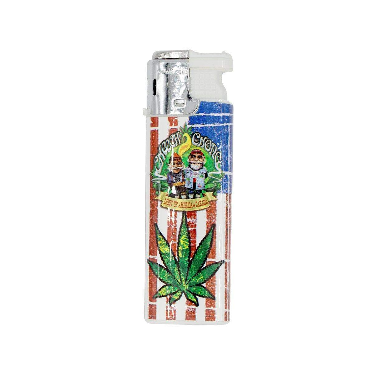 2 packs lighter torch smoking accessory with Cheech n Chong on USA flag and weed leaf design classic lighter shape