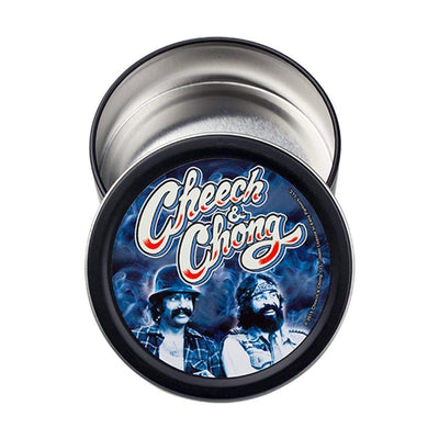 Wonderful pocket-ready round stashbox small tin container with funny comedy duo Cheech and Chong design on lid vintage look