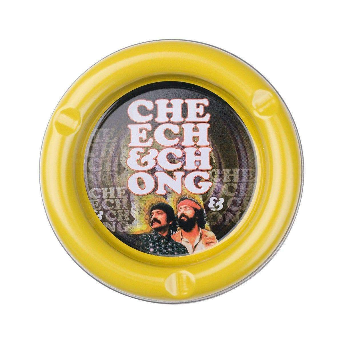 Multipurpose round stash tray plate smoking accessory in different colors with fun comedy duo Cheech n Chong designs