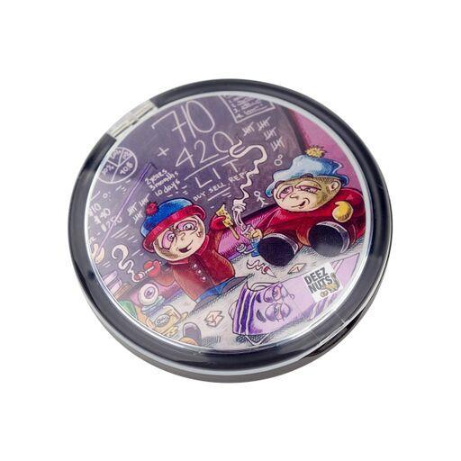 Round silicone stash container storage with clam seashell makeup compact look and South Park smoking weed design