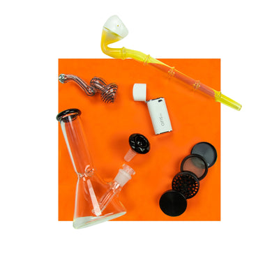 Orange background set of white Airis vape, beaker, male bowl, black grinder, 4 inch bubbler and 8 inch bubbler