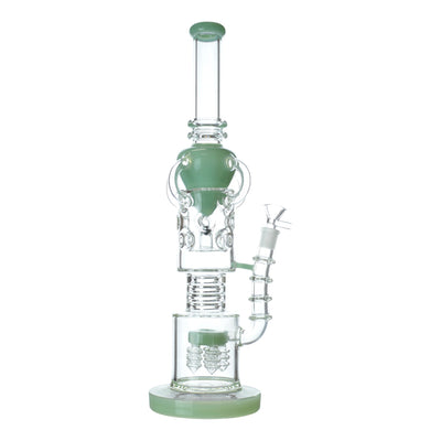 16 inch intricate recycler bong 4 recycler arm 2 part perc chamber jade cone design with handle jade base bowl on right